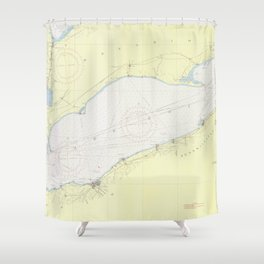 Vintage Map of Lake Erie (1955) Shower Curtain