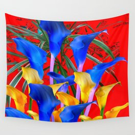YELLOW & AZURE BLUE CALLA LILIES RED ART Wall Tapestry