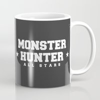 monster hunter Mugs featuring Monster Hunter All Stars - The Dondruma Hurricanes by Bleached ink