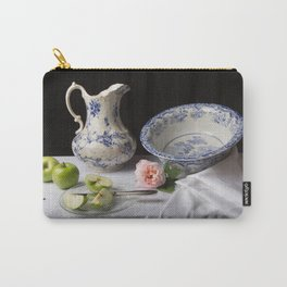 Delft blue china and apples still life Carry-All Pouch