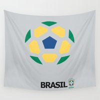 brasil Wall Tapestries featuring Brasil National Team by Earl of Grey