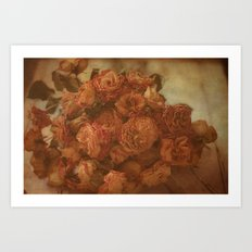 Old Orange Roses Art Print
