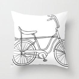 vintage witch bike Throw Pillow