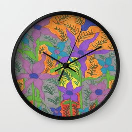 Violets in the Sky Boho Floral Wall Clock
