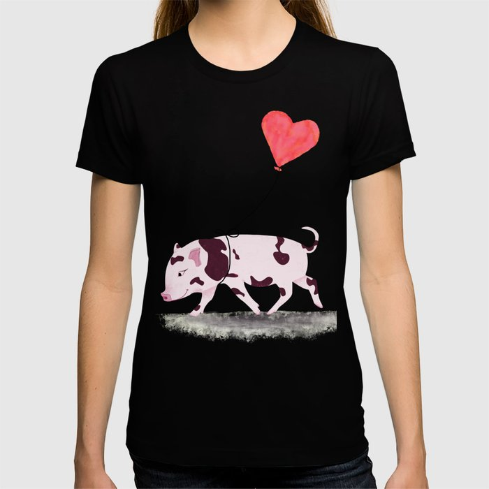 Baby Pig With Heart Balloon T-shirt