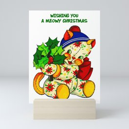 WISHING YOU A MEOWY CHRISTMAS Mini Art Print