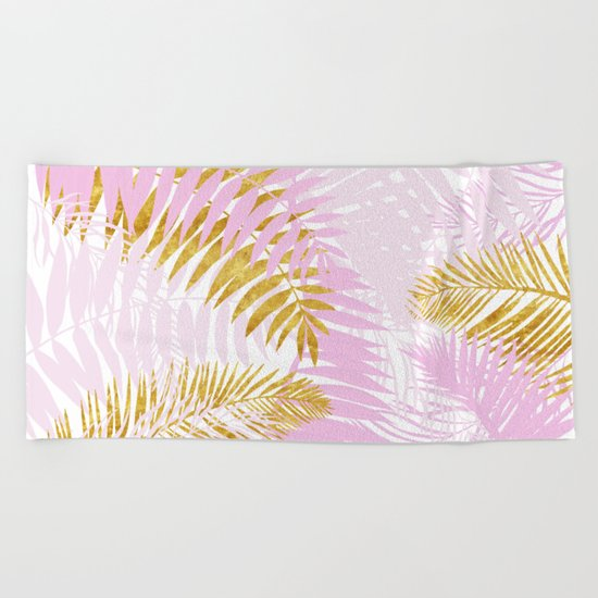 Aloha- Pink Tropical Palm Leaves and Gold Metal Foil Leaf Garden Beach Towel