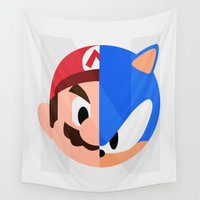sonic Wall Tapestries featuring Mario & Sonic by Thomas Official