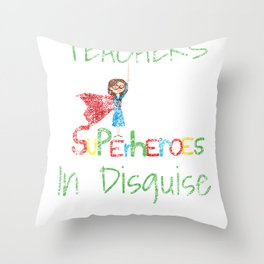 School Teachers Are Superheroes Distressed product Throw Pillow