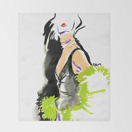 fashion #48: a woman in a fur jacket Throw Blanket