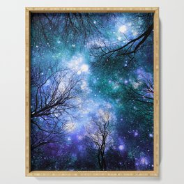 Black Trees Teal Violet Space Serving Tray