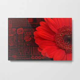 Red African Daisy Praise The Lord Metal Print