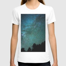 Colorful Green Blue Milky Way Night Sky With Tree Silhouette T-shirt