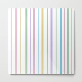 Pastel Rainbow Stripes Metal Print