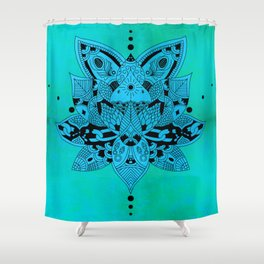 Aqua Mandala Metallic Mint Blue Shower Curtain