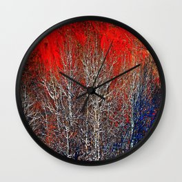 White Trees in Red Rocks Colorado USA  Wall Clock