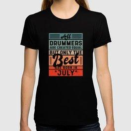 Retro Vintage Drummer Birthday July T-shirt