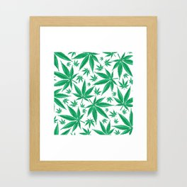 marijuana green pattern background Framed Art Print