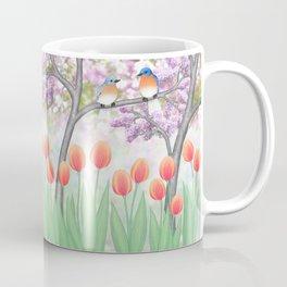 eastern bluebirds, tulips, & lilacs Coffee Mug