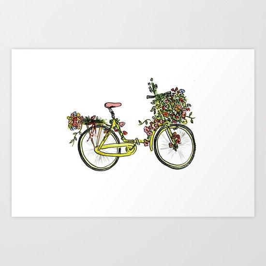 Flower-bike Art Print