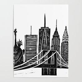 Linocut New York Poster