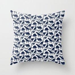 Little Dinosaur Friends - indigo Throw Pillow