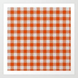 Orange Red Buffalo Plaid Art Print