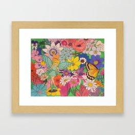 Fairy, butterfly & flowers Framed Art Print