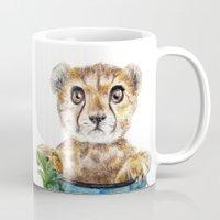 cheetah Mugs featuring cheetah by Anna Shell