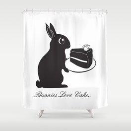 Bunnies Love Cake, Bunny Illustration, cake lovers, animal lover gift Shower Curtain