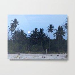 Full Moon Island Rising Metal Print