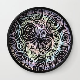 Abstract Artwork Pattern of Color Circles on a Black Background Style #03 Wall Clock