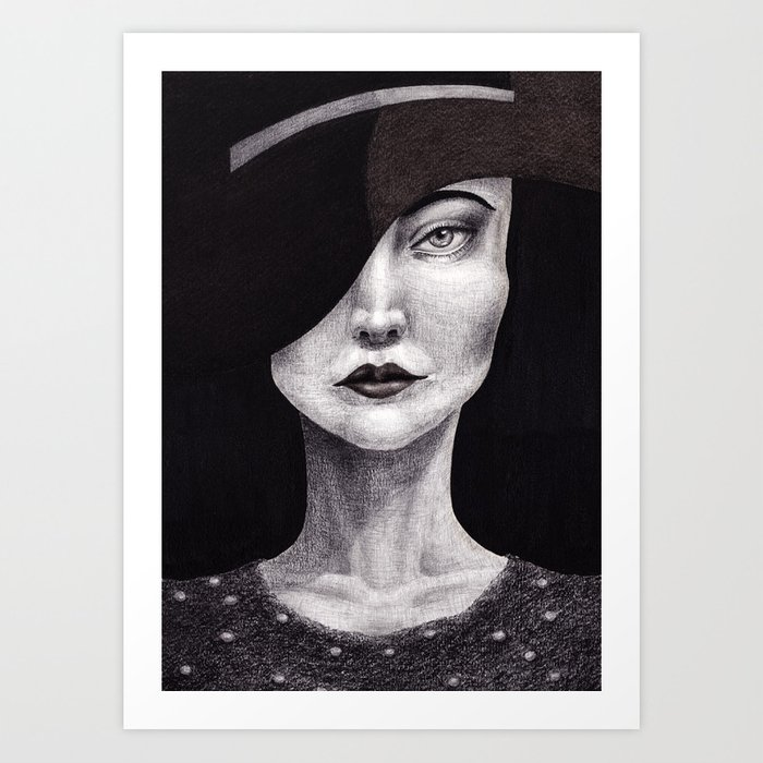 Untitled - charcoal graphite and oil drawing Art Print
