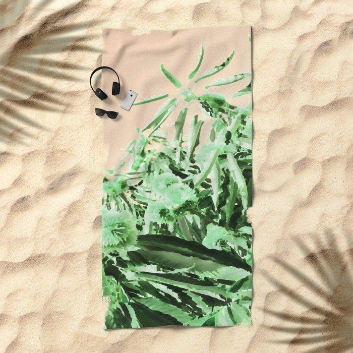 Green chestnut tree impressions Beach Towel