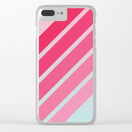 Pink Hip Retro Stripes Clear iPhone Case