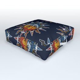 Celestial Mosaic Sun and Moon Outdoor Floor Cushion