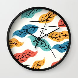 Colorful Autumn Leaves Illustration Wall Clock