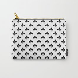 Black French Fleur de Lis on White Carry-All Pouch