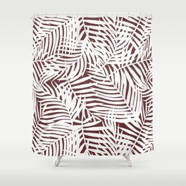 Tropical Red Leaves Shower Curtain