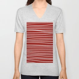 Red & White Maritime Hand Drawn Stripes - Mix & Match with Simplicity of Life Unisex V-Neck