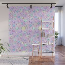 Pastel Planets Doodle Wall Mural