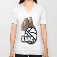 game of thrones V-neck T-shirts featuring GAME  by Robleedesigns