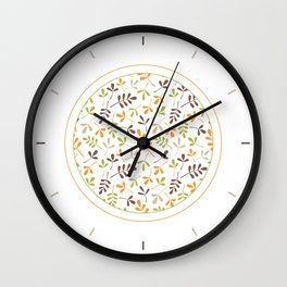 Assorted Leaf Silhouettes Ptn Retro Colors Wall Clock
