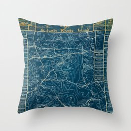 Vintage Lost Villages of Scituate, Rhode Island Map before flooding of Scituate Reservoir Throw Pillow