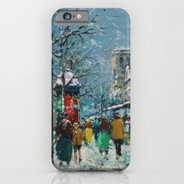 Notre-Dame et les Quais, Winter, Paris by Antoine Blanchard iPhone Case