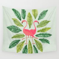 general Wall Tapestries featuring Flamingos by Cat Coquillette