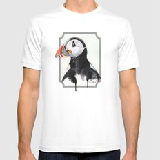 Puffin White Mens Fitted Tee MEDIUM