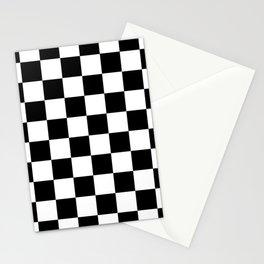 Black White Checker Stationery Cards