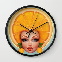 Orange fruit face Wall Clock