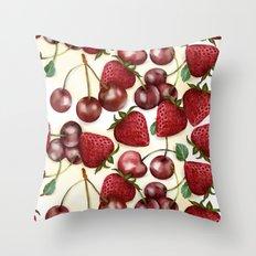Strawberries and cherries Throw Pillow